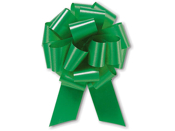 """8"""" Emerald Green Flora Satin Pull Bows, 10 pack"""