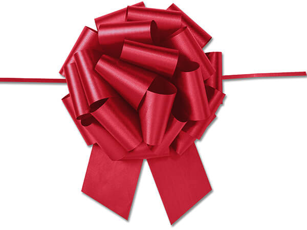 """8"""" Lava Red Flora Satin Pull Bows, 50 pack"""