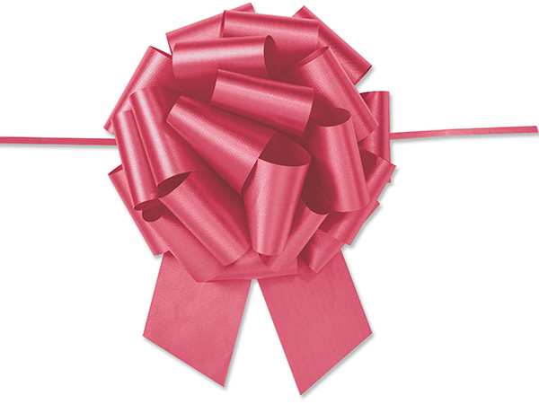 """8"""" Red Flora Satin Pull Bows, 10 pack"""
