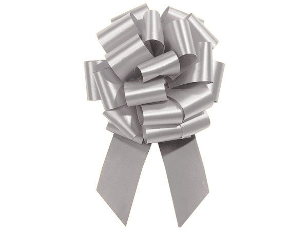 """8"""" Silver Flora Satin Pull Bows, 10 pack"""