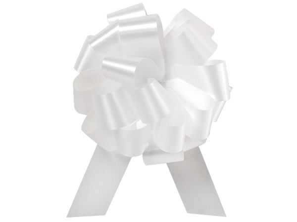 "White Flora Satin 8"" Pull Bows 20 Loops"