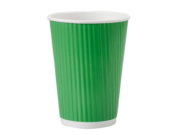 Apple Green 12 oz Groove Paper Cups Made In The USA