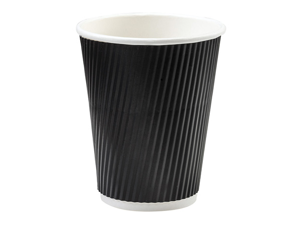 Black 12 oz  Groove Hot Paper Cups Made In The USA