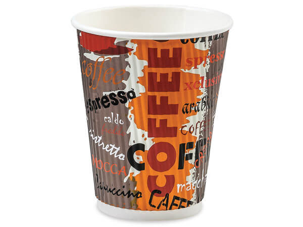 Coffee 12 oz Groove Paper Cups Made In The USA