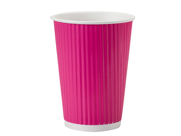 Hot Pink 12 oz Groove Paper Cups Made In The USA