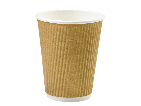 Natural 12 oz  Groove Hot Paper Cup Made In The USA