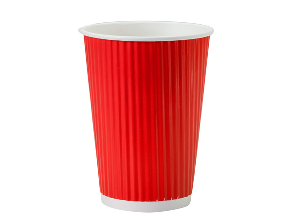 Red 12 oz Groove Paper Cups Made In The USA