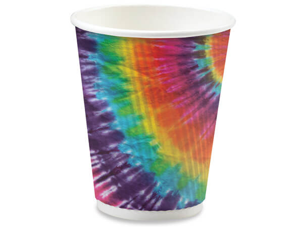 Tie Dye 12 oz Groove Paper Cups Made In The USA