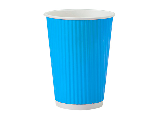 Turquoise 12 oz Groove Paper Cups Made In The USA