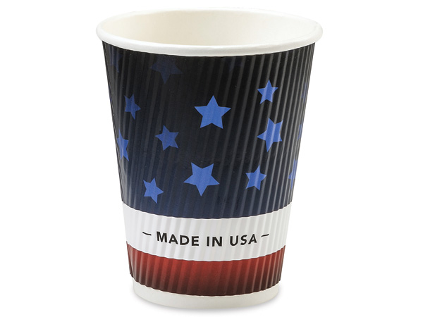 Patriotic 12 oz Groove Paper Cups Made In The USA