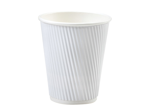 White 12 oz Groove Hot Paper Cups Made In The USA