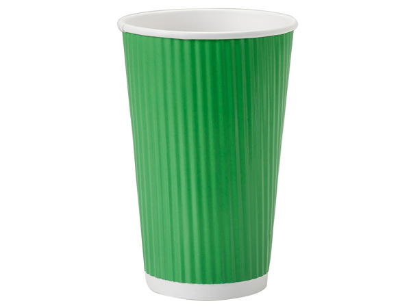 Apple Green 16 oz Groove Paper Cups Made In The USA