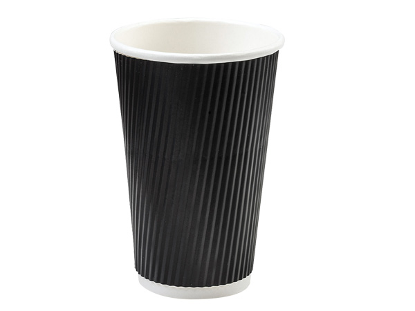 Black 16 oz  Groove Hot Paper Cups Made In The USA