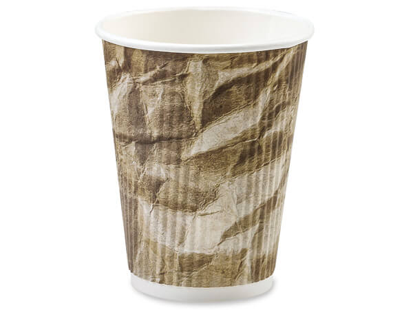Crushed 16 oz Groove Paper Cups Made In The USA