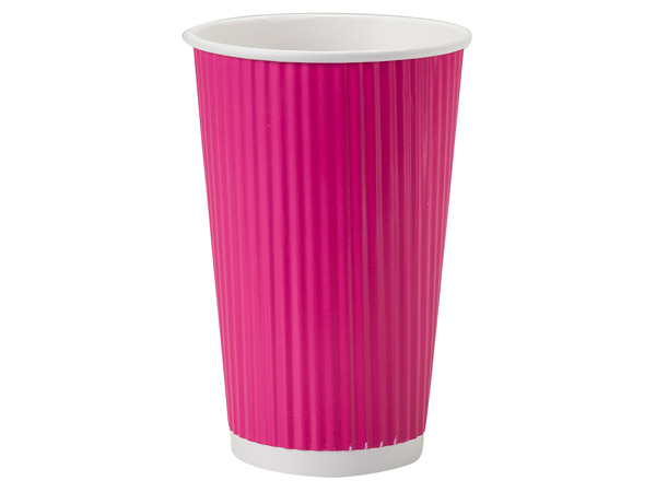 Hot Pink 16 oz Groove Paper Cups Made In The USA