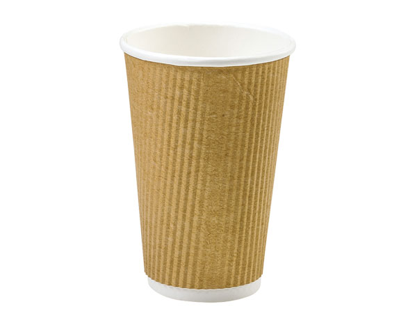 Natural 16 oz  Groove Hot Paper Cup Made In The USA