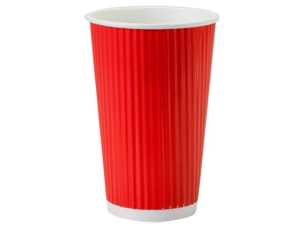 Red 16 oz Groove Paper Cups Made In The USA