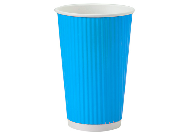 Turquoise 16 oz Groove Paper Cups Made In The USA