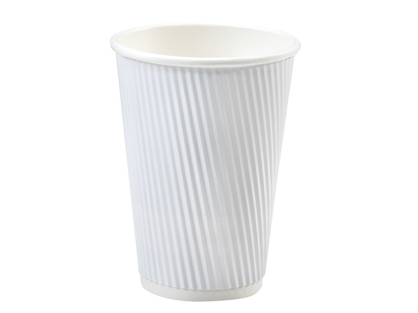 White 16 oz Groove Hot Paper Cups Made In The USA