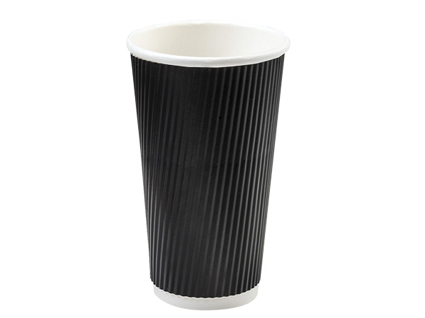 Black 20 oz  Groove Hot Paper Cups Made In The USA