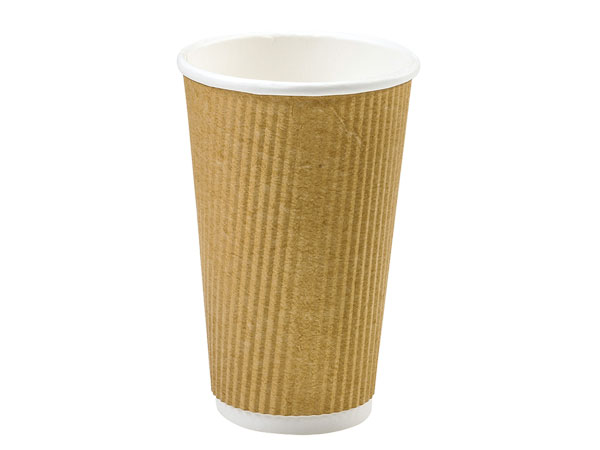 Natural 20 oz  Groove Hot Paper Cup Made In The USA