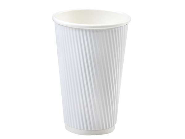 White 20 oz Groove Hot Paper Cups Made In The USA