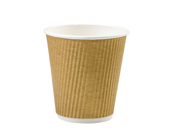 Natural 8 oz  Groove Hot Paper Cups Made In The USA
