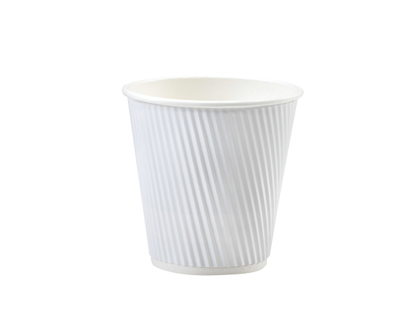 White 8 oz Groove Hot Paper Cups Made In The USA