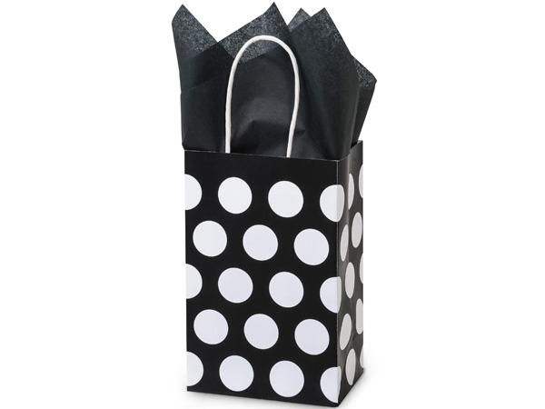 Rose Black Polka Dots Recycled 250 Bags 5-1/4x3-1/2x8-1/4""