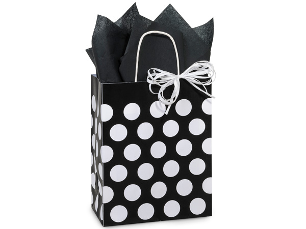 """Black Polka Dots Recycled Bags Cub 8.25x4.75x10.5"""", 25 Pack"""