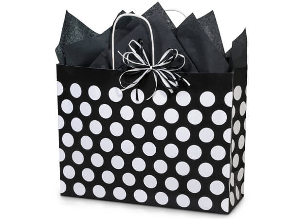 """Vogue Black Polka Dots Recycled 25 Pk Bags 16x6x12-1/2"""""""