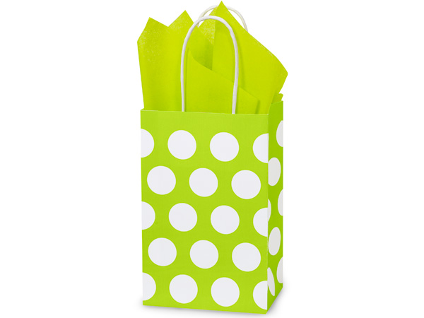 Rose Citrus Polka Dots Recycled 25 Pk Bags 5-1/4x3-1/2x8-1/4""