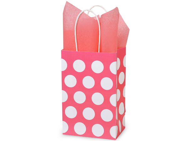 """*Rose Coral Polka Dots 100% Recycle 250 5-1/4x3-1/2x8-1/4"""""""