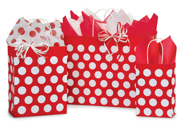 Red Polka Dots 125 Bag Assortment 50 Rose, 50 Cub, 25 Vogue
