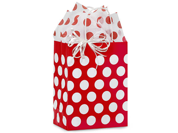 Cub Red Polka Dots Recycled 25 Pk Bags 8-1/4x4-3/4x10-1/2""