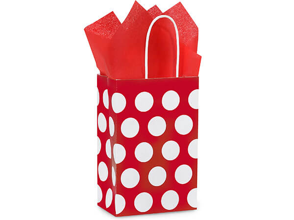 """Rose Red Polka Dots Recycled 25 Pk Bags 5-1/4x3-1/2x8-1/4"""""""