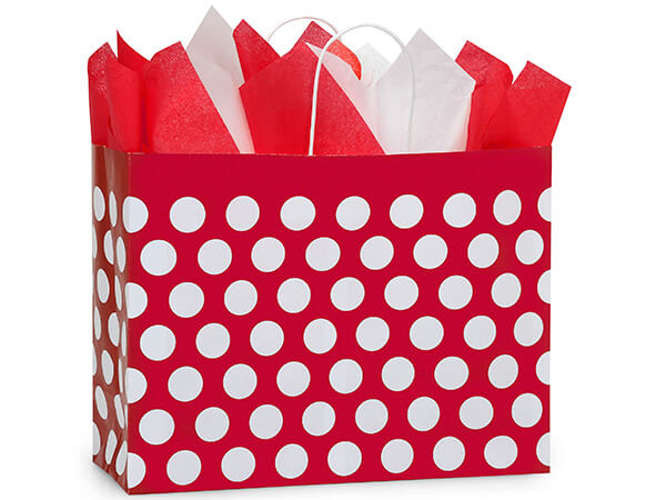 Vogue Red Polka Dots Recycled 25 Pk Bags 16x6x12-1/2""
