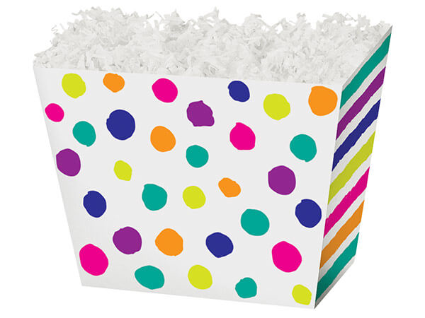 Large Painted Dots & Stripes Angled Basket Box 10-1/4 x 6 x 7-1/2""
