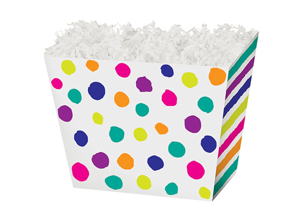 """Small Painted Dots & Stripes Angled Basket Box 6-3/4 x 4-1/2 x 5"""""""