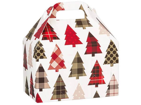 """Plaid Trees Gable Box, 8.5x5x5.5"""", 6 Pack"""