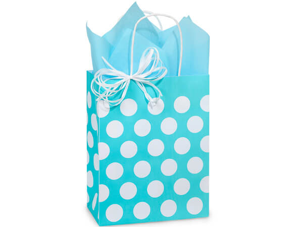 """Turquoise Polka Dots Recycled Bags Cub 8.25x4.75x10.5"""", 250 Pack"""
