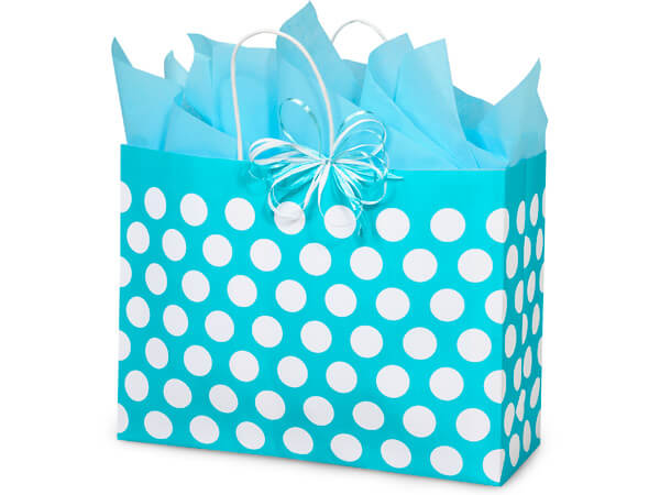 """Vogue Turquoise Polka Dots Recycled 250 Bags 16x6x12-1/2"""""""