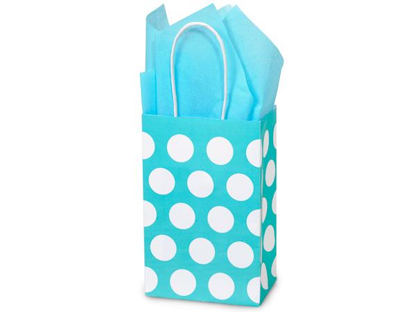 "Rose Turquoise Polka Dots 25 Pk Bags 5-1/4x3-1/2x8-1/4"""
