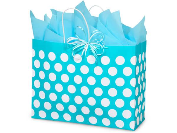 "Vogue Turquoise Polka Dots 25 Pk Bags 16x6x12-1/2"""