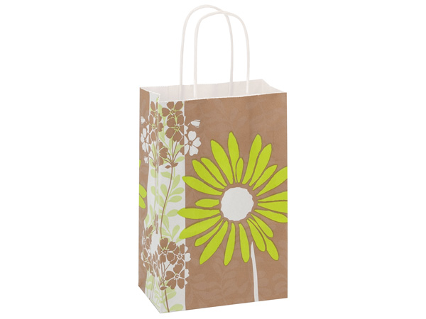 Rose Painted Daisies White Kraft Paper Bags 250 5-1/2x3-1/4x8-3/8""