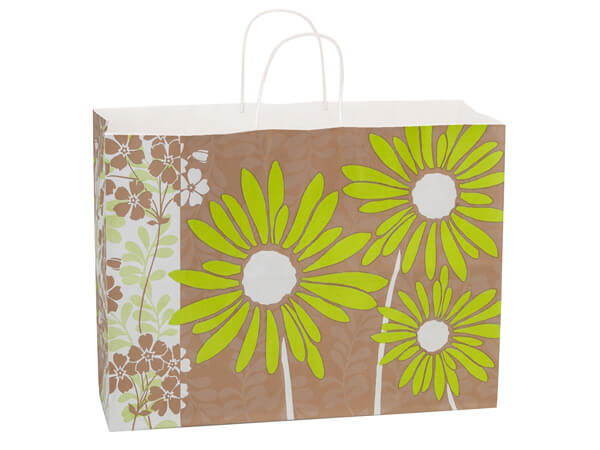 Vogue Painted Daisies White Kraft Paper Bags 250 16x6x12""