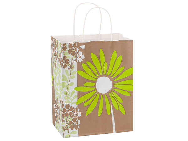 Cub Painted Daisies White Kraft Bags 25 Pk 8x4-3/4x10-1/4""