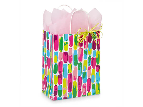 """Painted Gems Paper Shopping Bags, Cub 8.25x4.75x10.5"""", 25 Pack"""