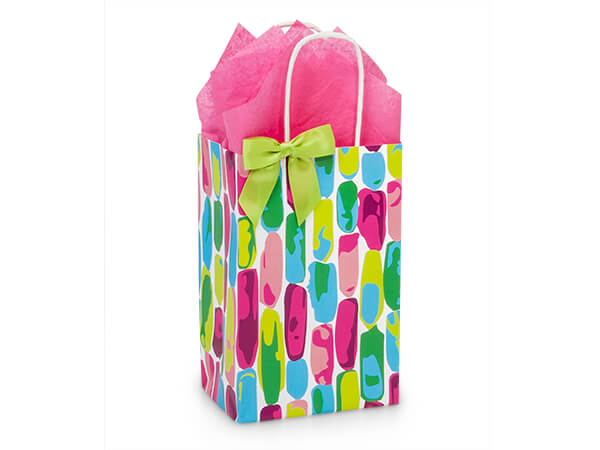 """Painted Gems Paper Shopping Bags, Rose 5.25x3.5x8.25"""", 25 Pack"""