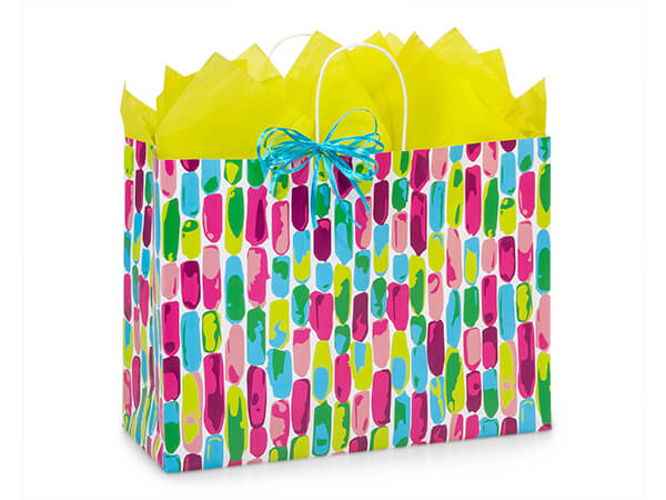 """Painted Gems Paper Shopping Bags, Vogue 16x6x12.5"""", 25 Pack"""